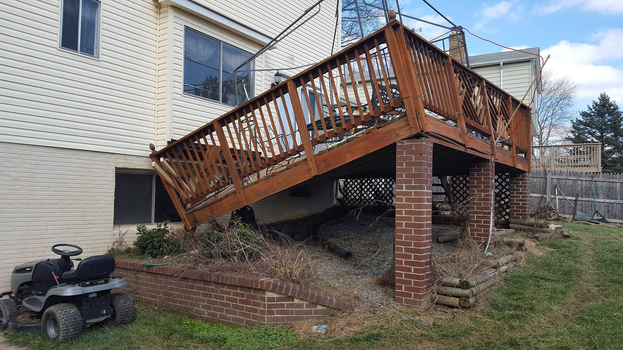 before photo of needed deck repair gaithersburg md